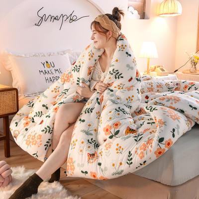 2020秋冬新品保暖针织棉印花冬被被子被芯 150*200cm重4斤 橘猫