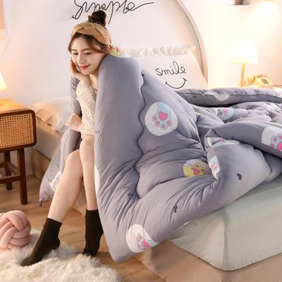 2020秋冬新品保暖针织棉印花冬被被子被芯 150*200cm重4斤 可爱猫爪