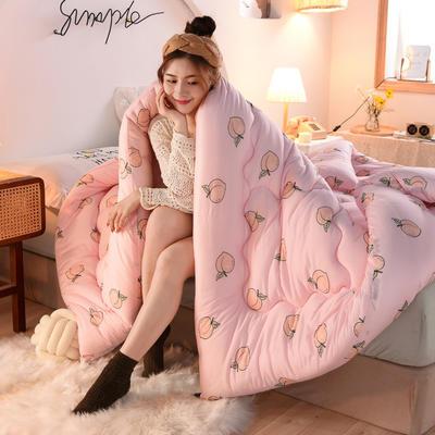 2020秋冬新品保暖针织棉印花冬被被子被芯 150*200cm重4斤 快乐桃桃