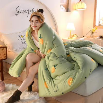 2020秋冬新品保暖针织棉印花冬被被子被芯 150*200cm重4斤 绿柠檬