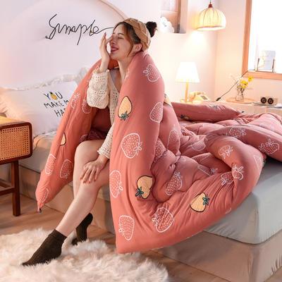 2020秋冬新品保暖针织棉印花冬被被子被芯 150*200cm重4斤 芝芝莓莓
