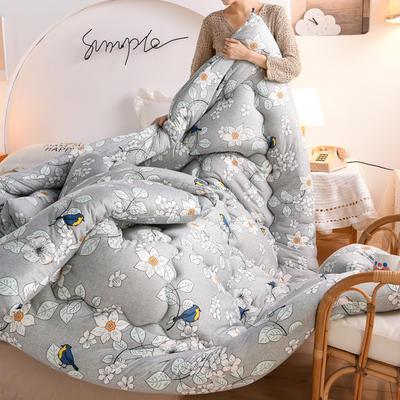 2020秋冬新品保暖针织棉印花冬被被子被芯 150*200cm重4斤 鸟语花香