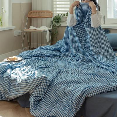 2021新款水洗棉双面印花夏凉被套件 150x200cm单夏被 小蓝格