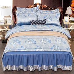 2019新款-床裙提花款四件套 2.0m(6.6英尺)床 13-伊丽莎白-经典蓝