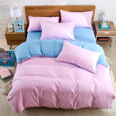 纯色双拼四件套 纯色枕套48*74/对 粉色蓝