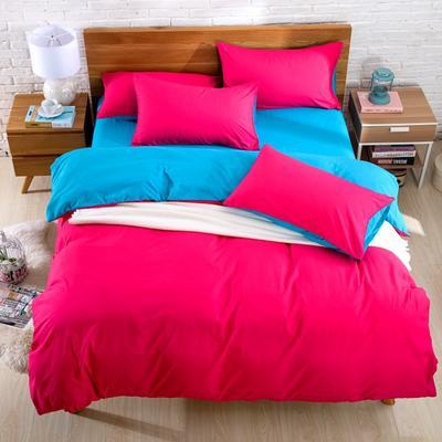 纯色双拼四件套 纯色枕套48*74/对 玫红蓝