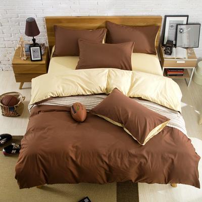 纯色双拼四件套 纯色枕套48*74/对 米驼咖