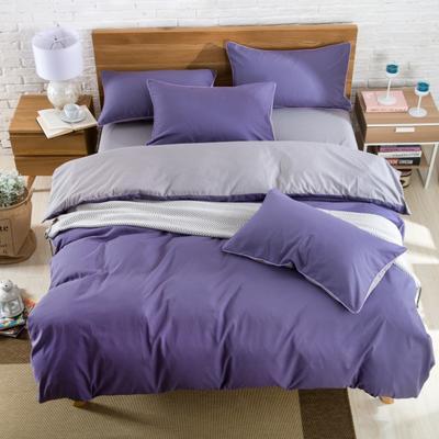 纯色双拼四件套 纯色枕套48*74/对 烟熏紫
