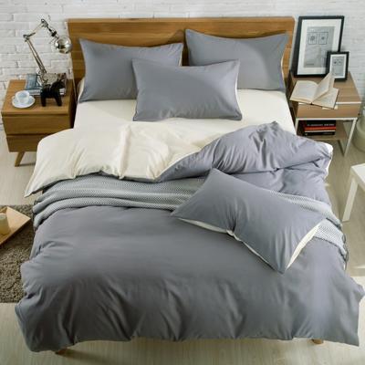 纯色双拼四件套 纯色枕套48*74/对 银灰米