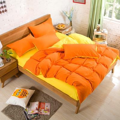 纯色床笠 180*200 靓橙黄