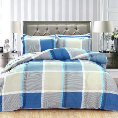 艾迪尚新款四件套-卷边床单款 枕套48*74cm*2 蓝调