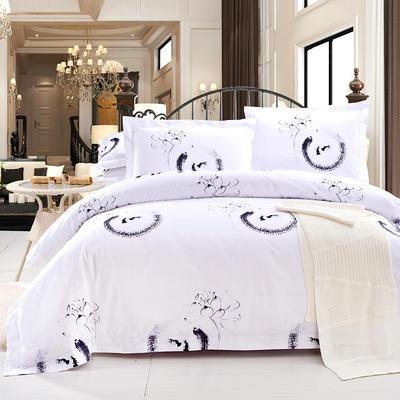 酒店风格单品-床笠 1.2米床笠 荷塘月色