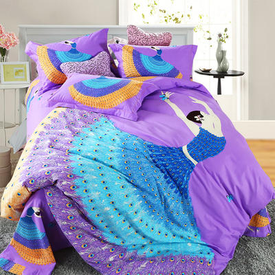 21支磨毛四件套系列 1.8m床笠款(被套2.29m) 轻歌曼舞(紫)