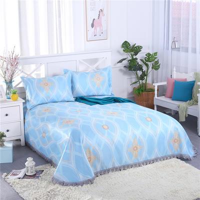 艾迪尚家纺    2018冰丝凉席可水洗三件套床裙款 包装 典雅生活-蓝