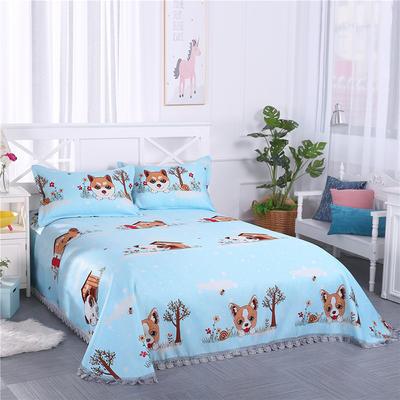 艾迪尚家纺    2018冰丝凉席可水洗三件套床裙款 包装 快乐小狗-蓝