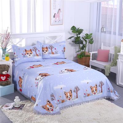 艾迪尚家纺    2018冰丝凉席可水洗三件套床裙款 2.3*2.5m 快乐小狗-紫