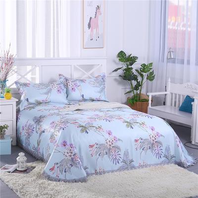 艾迪尚家纺    2018冰丝凉席可水洗三件套床裙款 2.3*2.5m 清风花语-蓝