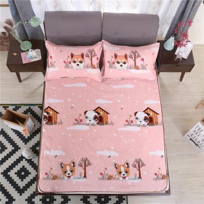 艾迪尚家纺    2018冰丝凉席三件套可水洗包边款 包装 快乐小狗-玉