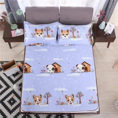 艾迪尚家纺    2018冰丝凉席三件套可水洗包边款 包装 快乐小狗-紫