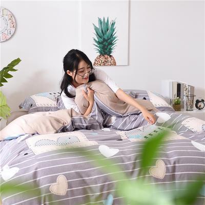 2018新款艾迪尚加厚斜纹水洗棉四件套-简约床单款 1.5m(床单款) 爱的记号