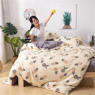 2018新款艾迪尚加厚斜纹水洗棉四件套-简约床单款 1.5m(床单款) 菠萝蜜
