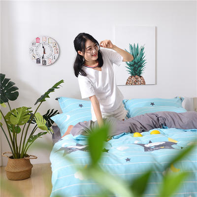 2018新款艾迪尚加厚斜纹水洗棉四件套-简约床单款 1.5m(床单款) 晚安宝贝