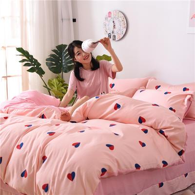 2018新款艾迪尚加厚斜纹水洗棉四件套-简约床单款 1.5m(床单款) 心相印