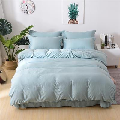 2018新款艾迪尚加厚斜纹水洗棉四件套-圆角床单款 1.5m(床单款) 艾伯特-浅蓝