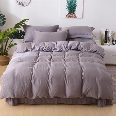 2018新款艾迪尚加厚斜纹水洗棉四件套-圆角床单款 1.5m(床单款) 艾伯特-紫灰