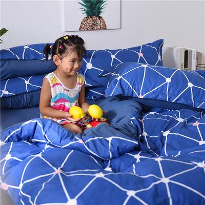 2018新款艾迪尚加厚斜纹水洗棉四件套-圆角床单款 1.2m(床单款) 盗梦空间-蓝