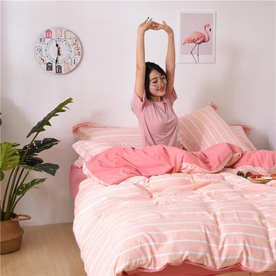 2018新款艾迪尚加厚斜纹水洗棉四件套-圆角床单款 1.5m(床单款) 粉白中条