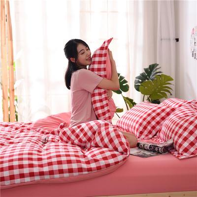 2018新款艾迪尚加厚斜纹水洗棉四件套-圆角床单款 1.5m(床单款) 红白中格