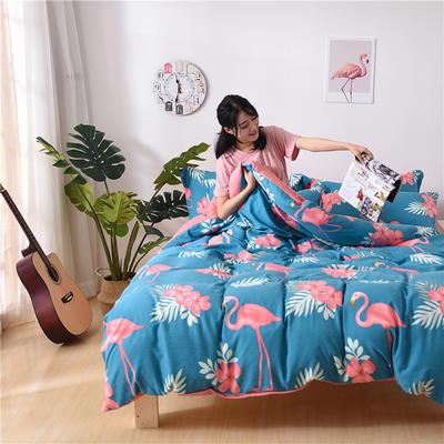 2018新款艾迪尚加厚斜纹水洗棉四件套-圆角床单款 1.2m(床单款) 火烈鸟