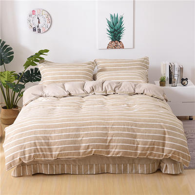 2018新款艾迪尚加厚斜纹水洗棉四件套-圆角床单款 1.5m(床单款) 咖白中条