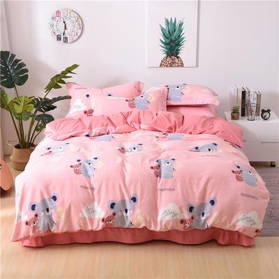 2018新款艾迪尚加厚斜纹水洗棉四件套-圆角床单款 1.8m/2.0m(床笠款) 考拉宝贝