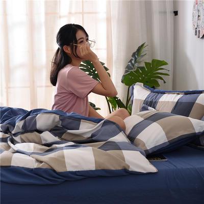 2018新款艾迪尚加厚斜纹水洗棉四件套-圆角床单款 1.5m(床单款) 蓝灰大格