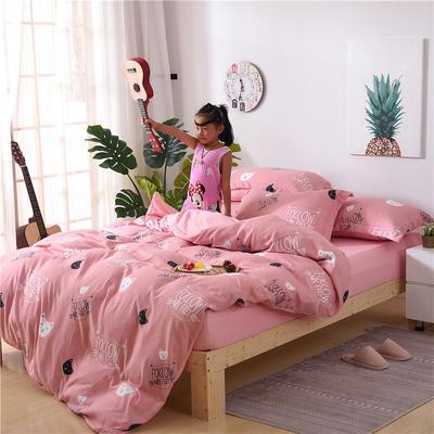 2018新款艾迪尚加厚斜纹水洗棉四件套-圆角床单款 1.5m(床单款) 猫咪宝贝-粉