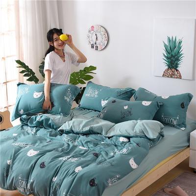 2018新款艾迪尚加厚斜纹水洗棉四件套-圆角床单款 1.2m(床单款) 猫咪宝贝绿