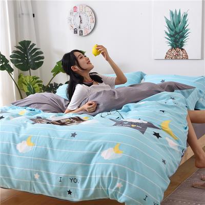 2018新款艾迪尚加厚斜纹水洗棉四件套-圆角床单款 1.5m(床单款) 晚安宝贝