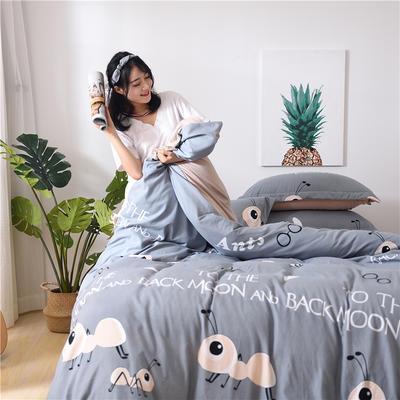 2018新款艾迪尚加厚斜纹水洗棉四件套-圆角床单款 1.2m(床单款) 小蚂蚁