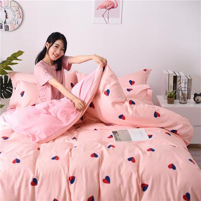 2018新款艾迪尚加厚斜纹水洗棉四件套-圆角床单款 1.5m(床单款) 心相印