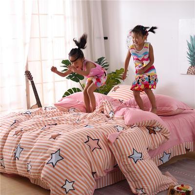 2018新款艾迪尚加厚斜纹水洗棉四件套-圆角床单款 1.2m(床单款) 星光灿烂