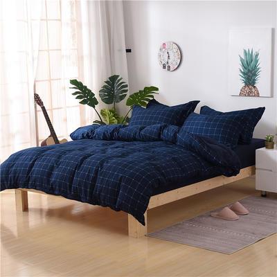 2018新款艾迪尚加厚斜纹水洗棉四件套-圆角床单款 1.5m(床单款) 追梦-蓝