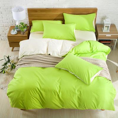 2018新款105克纯色双拼系列-单床笠 150cmx200cm 果绿米