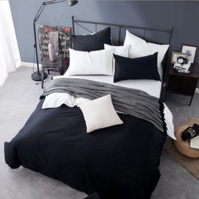 2018新款105克纯色双拼系列-单床笠 150cmx200cm 黑加白