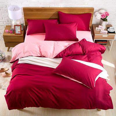 2018新款105克纯色双拼系列-单床单 160cmx230cm 酒红玉