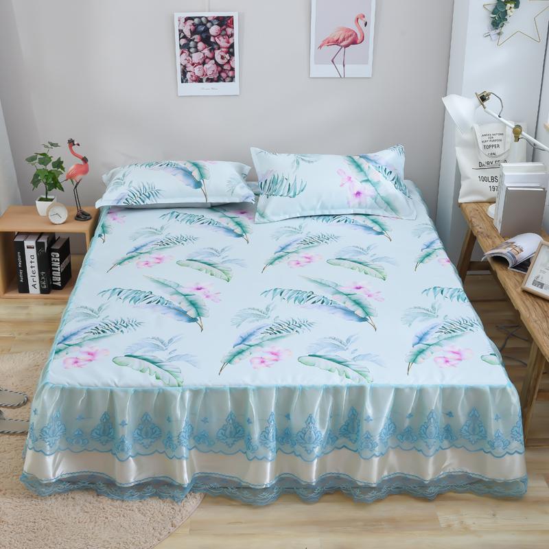 2019-新款印花冰丝床裙 凉席三件套