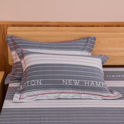 2019新款21支磨毛生态全棉系列-单枕套 48cmX74cm/对 黑白相间