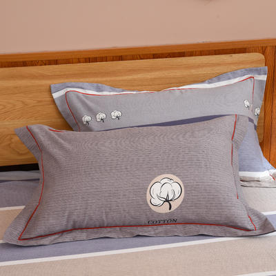 2019新款21支磨毛生态全棉系列-单枕套 48cmX74cm/对 棉花朵朵