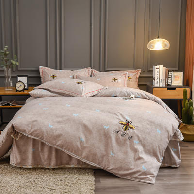 2019新款铂金棉绣花床单款四件套 1.5m床单款 卡洛斯-米驼